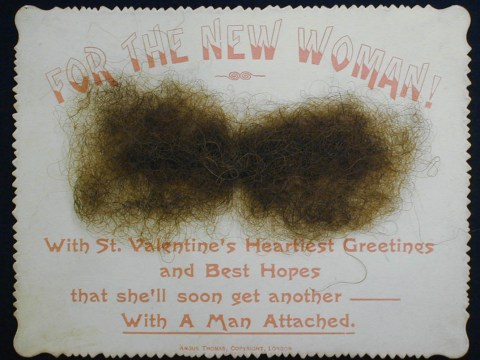 Jokey Victorian era Valentine's Day card daubed with facial hair is 'worst ever'