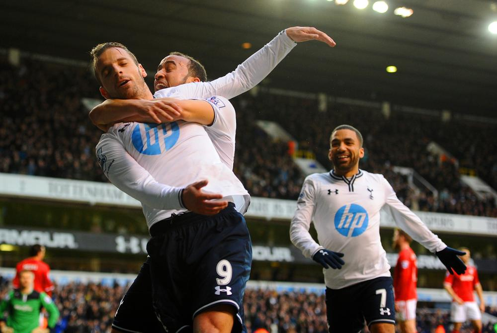 LONDON, ENGLAND - MARCH 02: Roberto Soldado of Tottenham Hotspur celebrates scoring the opening goal with Andros Townsend and Aaron Lennon of Tottenham Hotspur during the Barclays Premier League match between Tottenham Hotspur and Cardiff City at White Hart Lane on March 2, 2014 in London, England. Mike Hewitt/Getty Images
