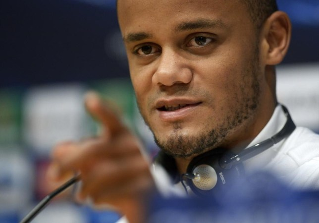 Vincent Kompany makes his point today (Picture: AFP/Getty Images)