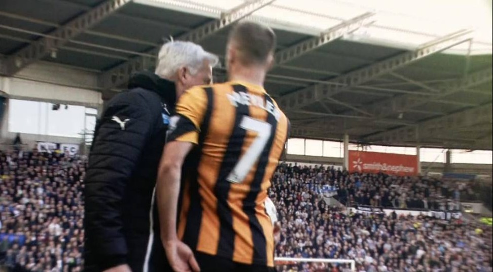 ****Ruckas Videograbs****  (01322) 861777 *IMPORTANT* Please credit BBC for this picture. 01/03/14 Hull v Newcastle The Alan Pardew/David Neyler incident as Pardew headbutts Meyler and gets sent to the stands Office  (UK)  : 01322 861777 Mobile (UK)  : 07742 164 106 **IMPORTANT - PLEASE READ** The video grabs supplied by Ruckas Pictures always remain the copyright of the programme makers, we provide a service to purely capture and supply the images to the client, securing the copyright of the images will always remain the responsibility of the publisher at all times. Standard terms, conditions & minimum fees apply to our videograbs unless varied by agreement prior to publication.