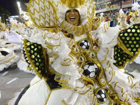 Pictures: Brazilian Carnival pays tribute to forthcoming Brazil World Cup 2014 and Formula one