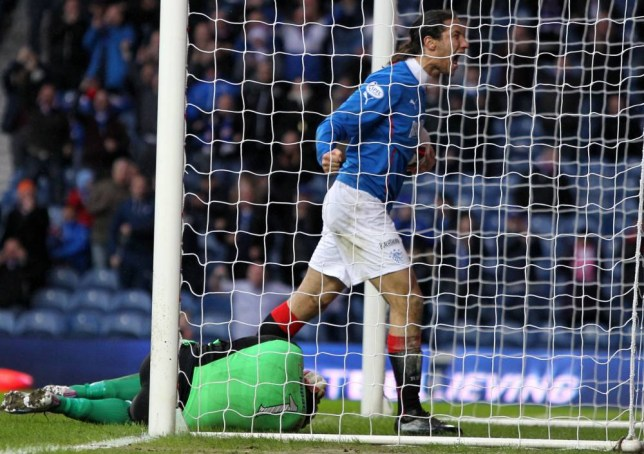 Rangers Bilel Mohsni celebrates scoring against  Albion Rovers during the William Hill Scottish Cup Quarter Final match at Ibrox Stadium, Glasgow. PRESS ASSOCIATION Photo. Picture date: Sunday March 9, 2014. See PA story SOCCER Rangers. Photo credit should read: Andrew Milligan/PA Wire. EDITORIAL USE ONLY