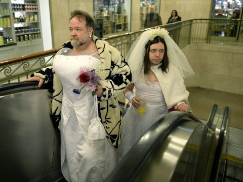 Pictures: Brides of March pub crawl around New York features lots of men in wedding dresses