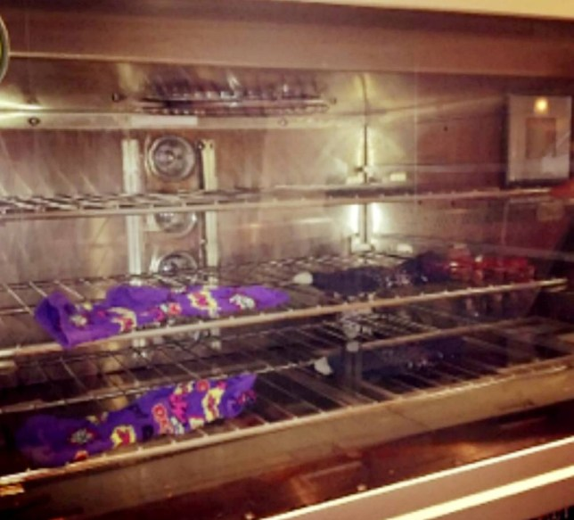 Miss Sykes uploaded a picture of her socks drying in a Subway oven - but it was seen by a customer (Picture: SWNS)
