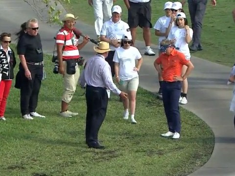 Spectator walks off with Luke Donald's ball during first round of Championship- Video