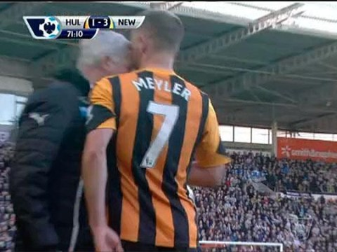 Six pictures of Alan Pardew headbutting Hull City midfielder David Meyler
