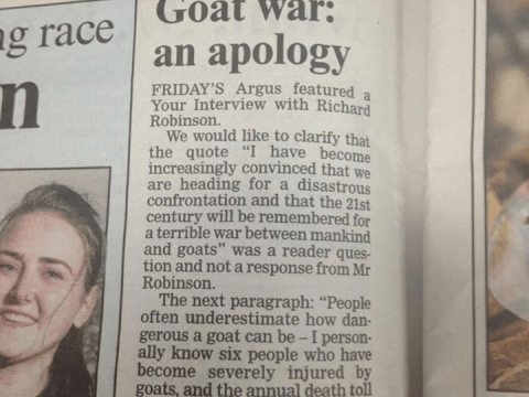 World War Goat: Is this the best newspaper correction ever?
