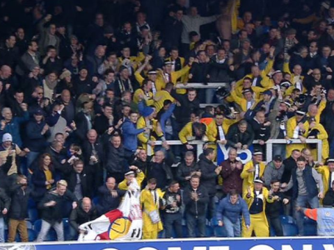 Leeds United fans welcome new owner Massimo Cellino by dressing as Italian mafia