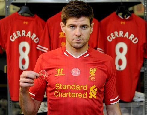 Steven Gerrard shows off the Hillsborough patch (Picture: Liverpool FC)