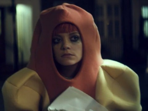 Lily Allen dresses up as giant hot dog to fight Lily Allen in Our Time video