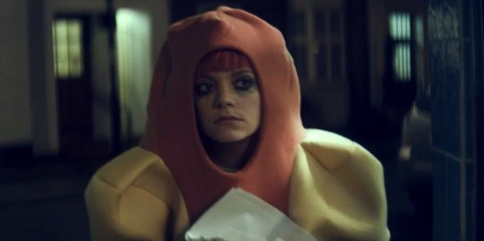 Lily Allen dresses up as a giant hot dog in her latest video (Picture: Regal)