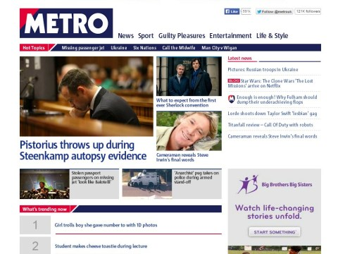 Metro.co.uk's homepage has changed – and now you are in control