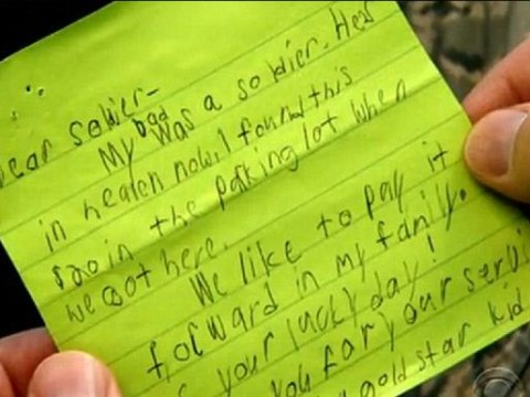Boy decides to honour dead father by leaving note and $20 for soldier