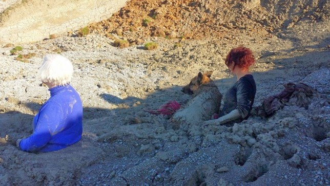 Two dog-walkers and their pet got stuck in 'quicksand' at Herne Bay, Kent, yesterday (Picture: Maritime and Coastguard Agency)