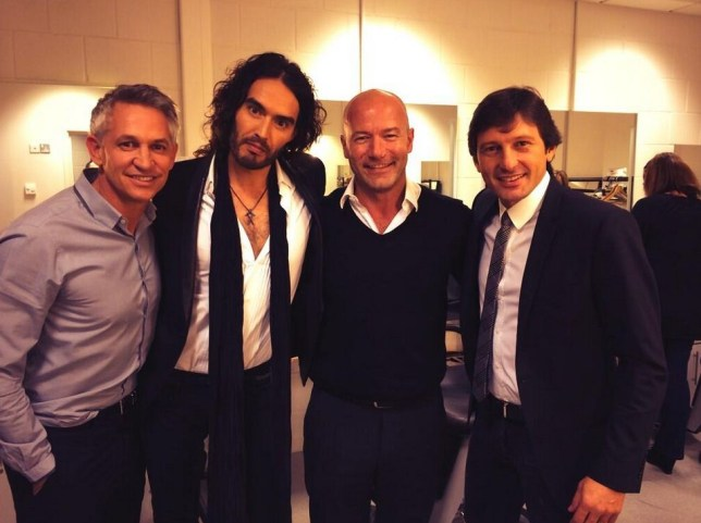 Russell Brand appeared as a guest pundit on Match of the Day (Picture: Russell Brand/Twitter)