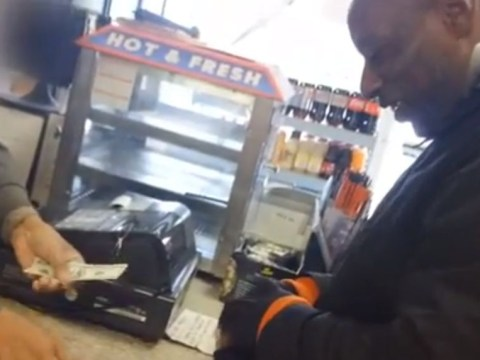 Watch moment stranger gives homeless man 'winning' lottery ticket