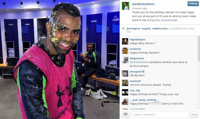 Sandro might have to save his birthday cake for after the Arsenal derby (Picture: Instagram)