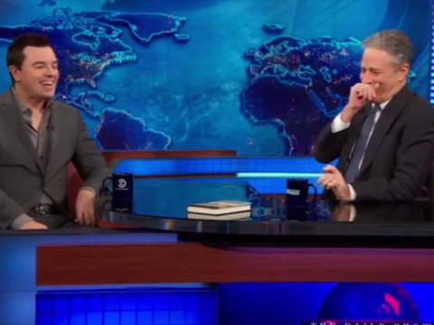 Watch Seth MacFarlane have The Daily Show host Jon Stewart in hysterics with hilarious Stewie Griffin impression