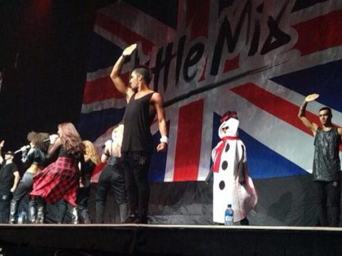 Watch the moment Demi Lovato pranked Little Mix on stage dressed as a snowman
