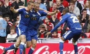 Paul Robinson celebrates the decisive goal at Wembley (PA)