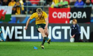 James O'Connor lands the winning kick for Australia (Getty Images)