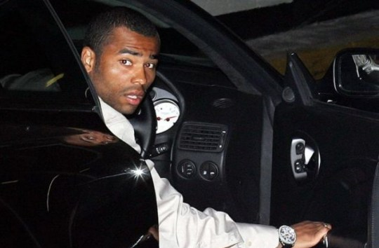 Court out: Ashley Cole in the Lamborghini he drove at 104mph through a 50mph zone