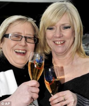 Cheers: Pat Dale, right, and Julie McGregor