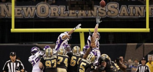 Garrett Hartley slots the kick which sent the New Orleans Saints to the Super Bowl