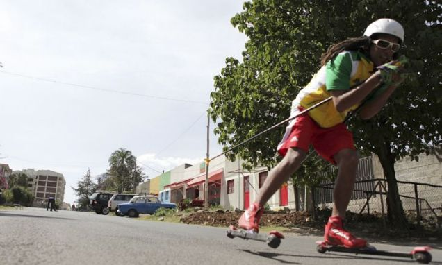 Ethiopian skier Robel Teklemariam