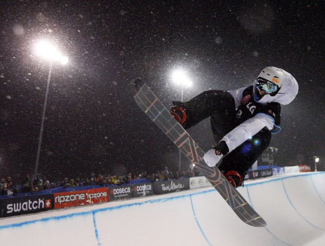 Great Britain's Ben Kilner soars to a third place finish in the men's World Cup snowboard halfpipe event in Canmore.