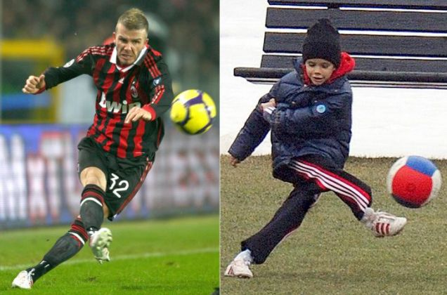 David Beckham takes on Juventus, left, while son Rome has a kick-around at the AC Milan training ground