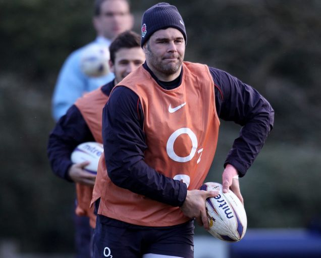 Nick Easter trains with England yesterday