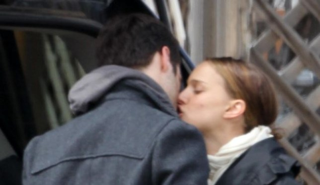 Natalie Portman steals a kiss from Benjamin Millepied