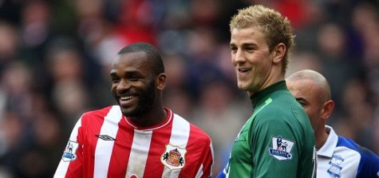Sunderland's Darren Bent (left) jokes with fellow England hopeful Joe Hart of Birmingham City