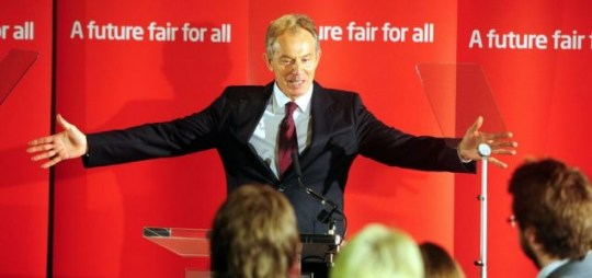 Former Prime Minister Tony Blair cheers on Gordon Brown
