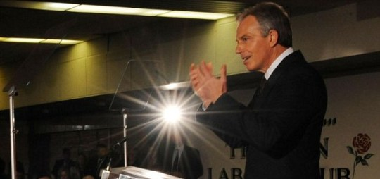 Former Prime Minister Tony Blair addresses party members at the Trimdon Labour Club in Sedgefield, County Durham
