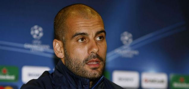 Josep Guardiola during the press conference at the Emirates Stadium ahead of Barcelona's clash with Arsenal