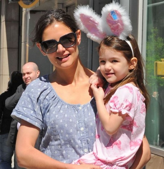 Katie Holmes and daughter Suri Cruise who looks cute in furry bunny ears
