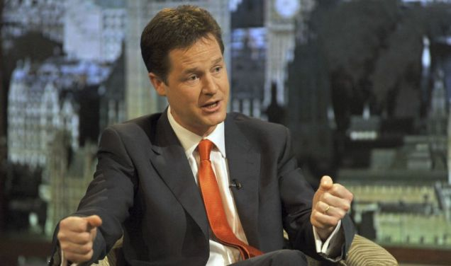 Liberal Democrat leader Nick Clegg speaks to BBC journalist Andrew Marr