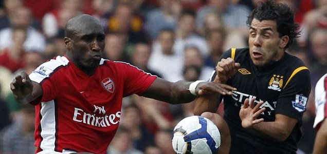 Sol Campbell and Carlos Tevez