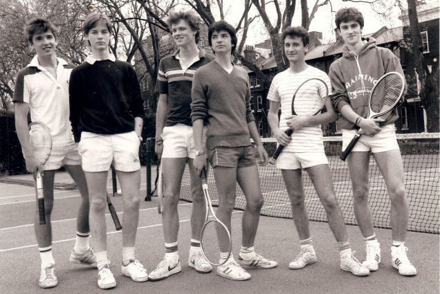 Court date: Nick Clegg, second from left, stares into the camera during a 1984 tennis match (Picture: AP)
