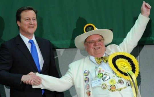 David Cameron celebrates with Monster Raving Loony candidate Alan Hope