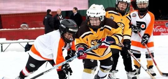 Some ice hockey kids