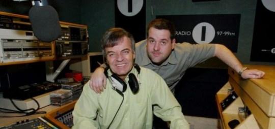Veteran DJ Tony Blackburn with current BBC Radio 1 breakfast DJ Chris Moyles.