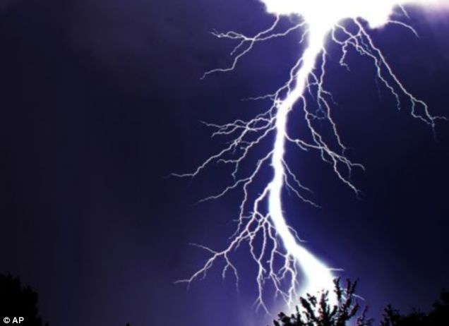 A nine-year-old girl was struck by lightning while watching TV.