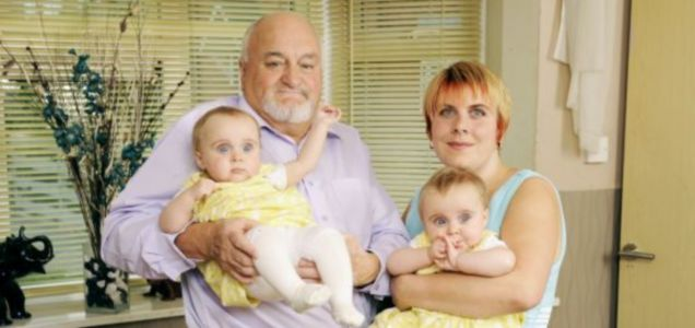 72-year-old Richard Roden with twins Emily and Ruby and his wife Lisa