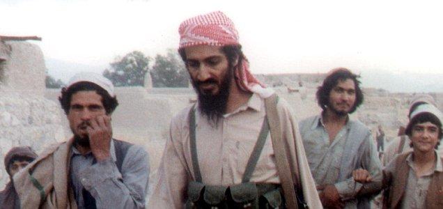 Osama Bin Laden walks in Afghanistan in Jalalabad 1989