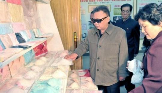 Kim Jong-Il looking at bras