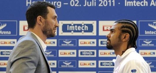 WBA champion David Haye of Britain and IBF and WBO titleholder Vladimir Klitschko of Ukraine square up