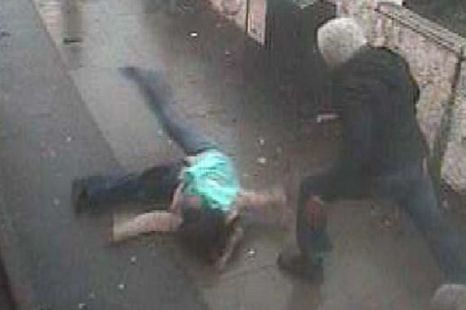 Nathaniel Pope, 21, attacks young mother Leila de Aguiar on the pavement after throwing her off a bus (Picture: INS)